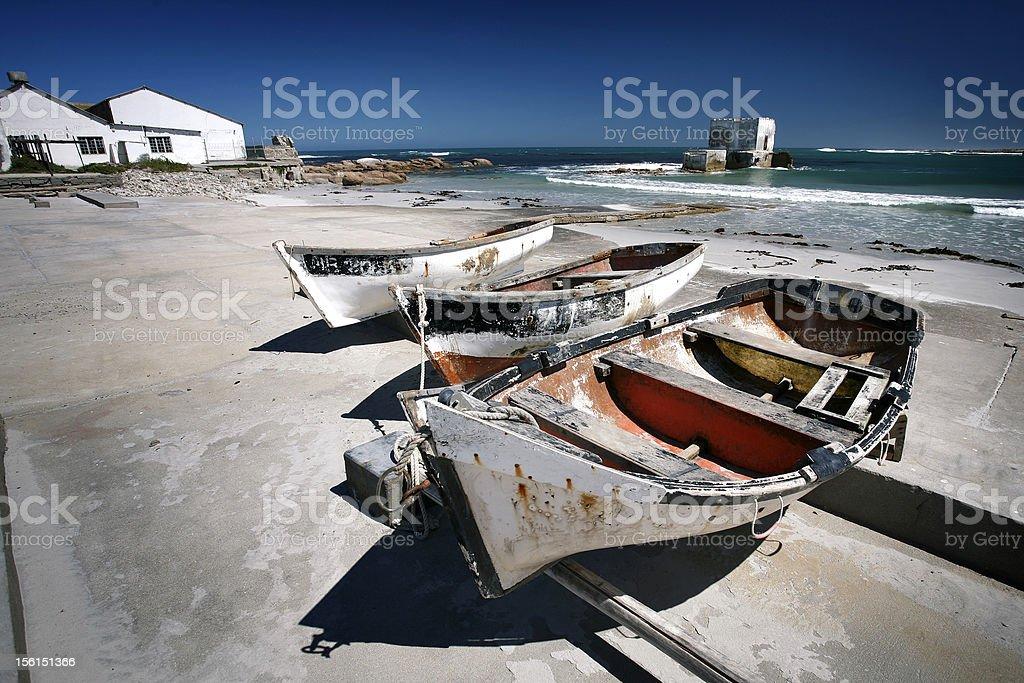 Boats on land stock photo