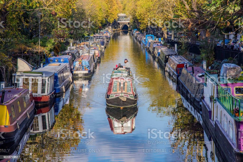 Boats on Little Venice canal stock photo