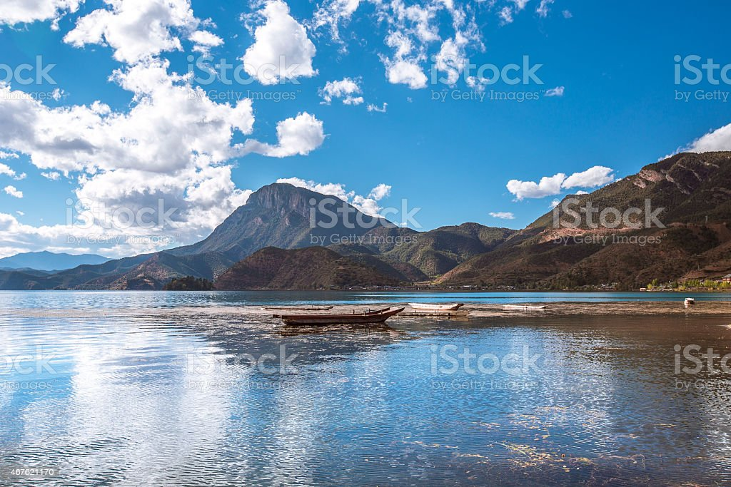 Boats on Lugu lake stock photo
