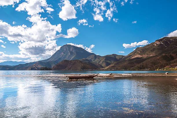 Boats on Lugu lake stock photo