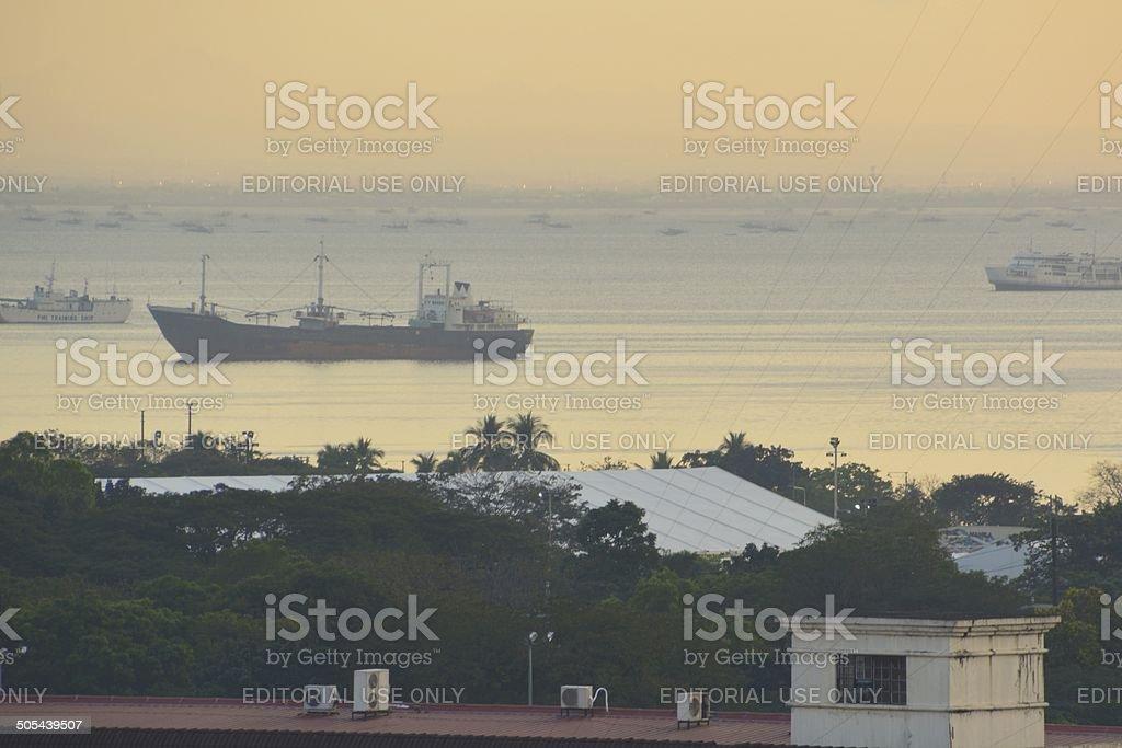 Boats on Manila Bay, Philippines stock photo