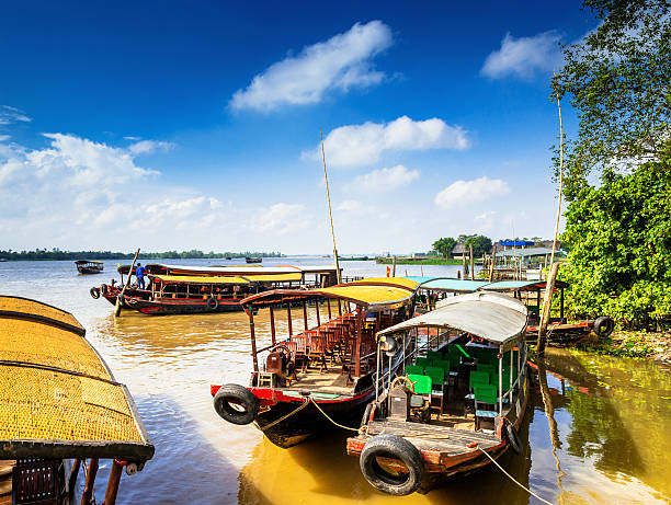 boats on mekong river - mekong river stock pictures, royalty-free photos & images