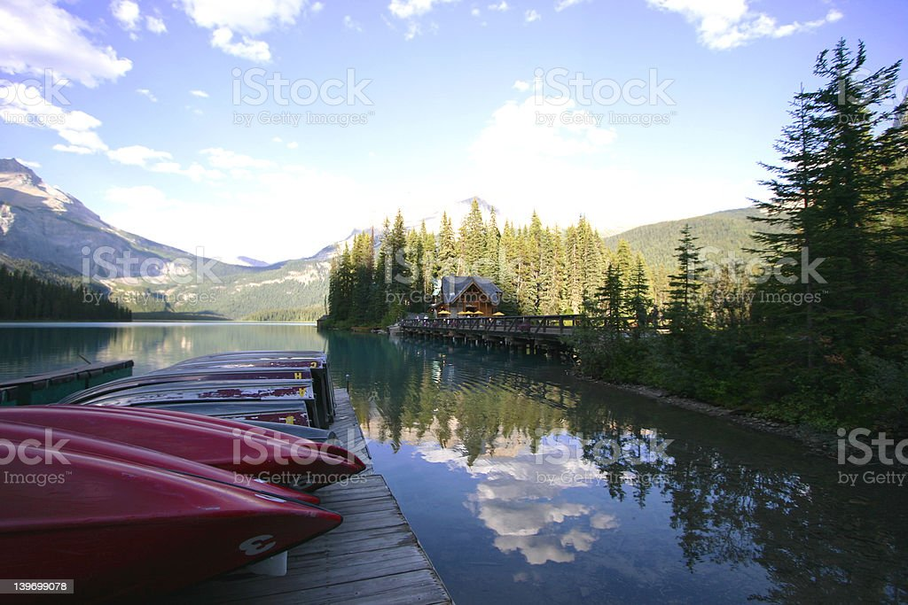 Boats on Mountain Lake royalty-free stock photo