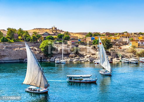 istock Boats on Nile in Aswan 1172999292
