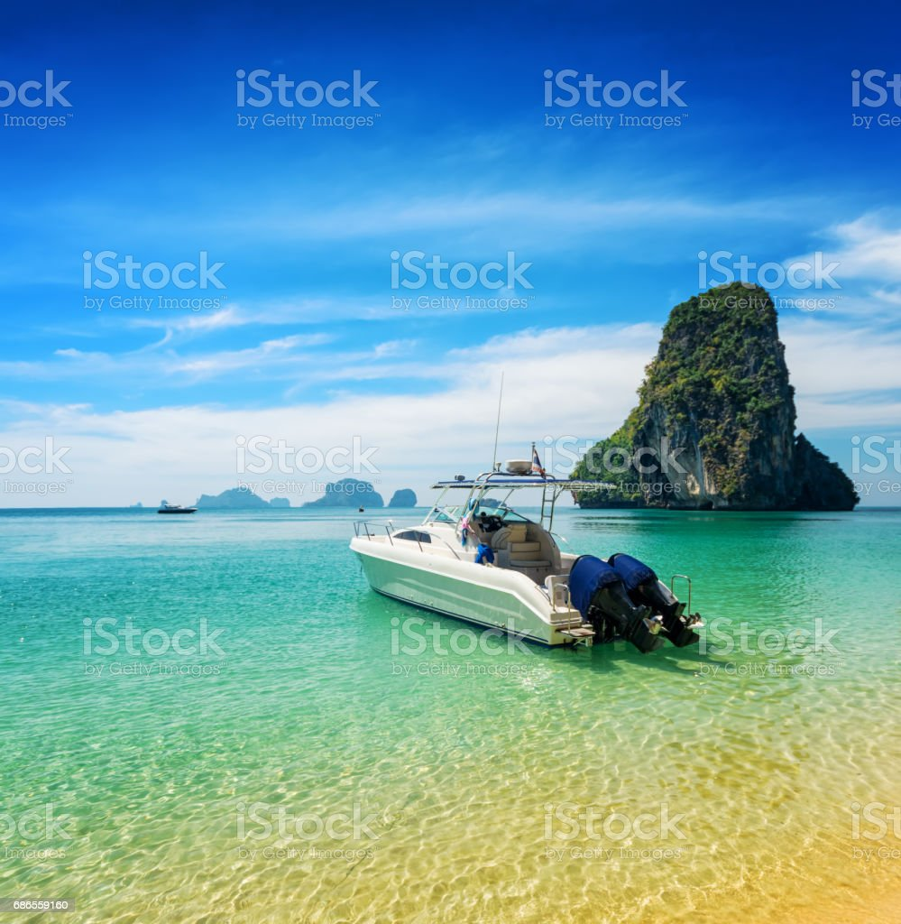 Boats on Phra Nang beach, Thailand royalty-free stock photo