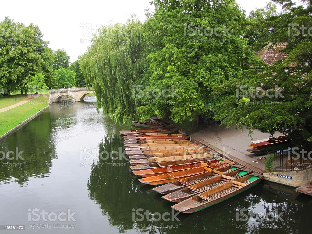 Boats on river in Cambridge stock photo