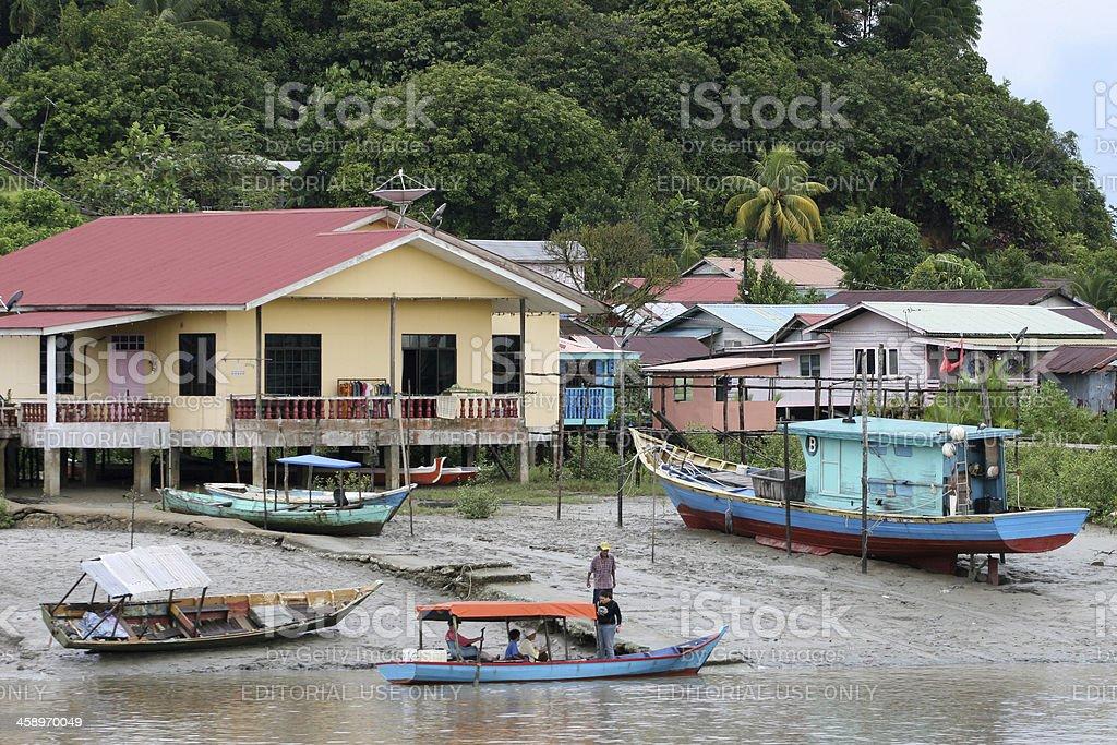 boats on river Sarawak stock photo