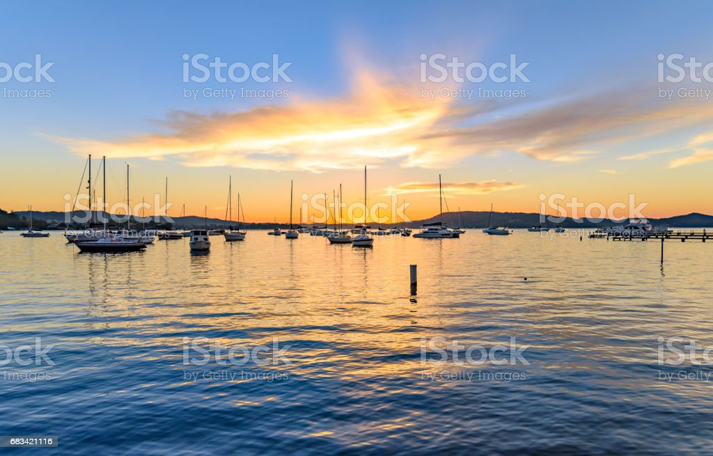 Boats on the Bay at Daybreak stock photo