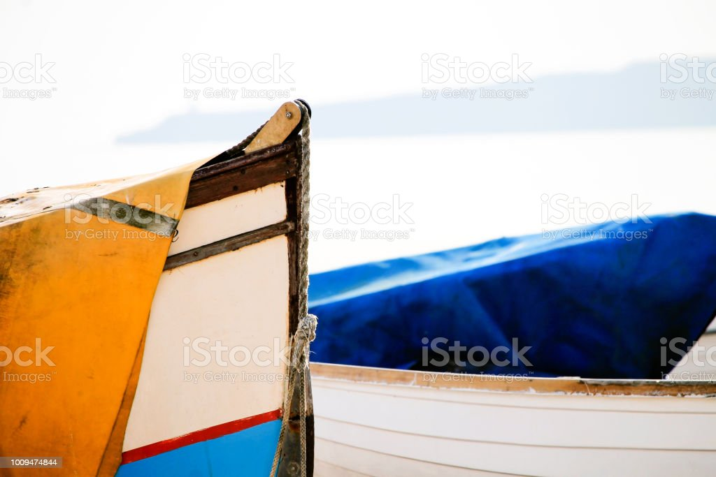Boats on the beach stock photo