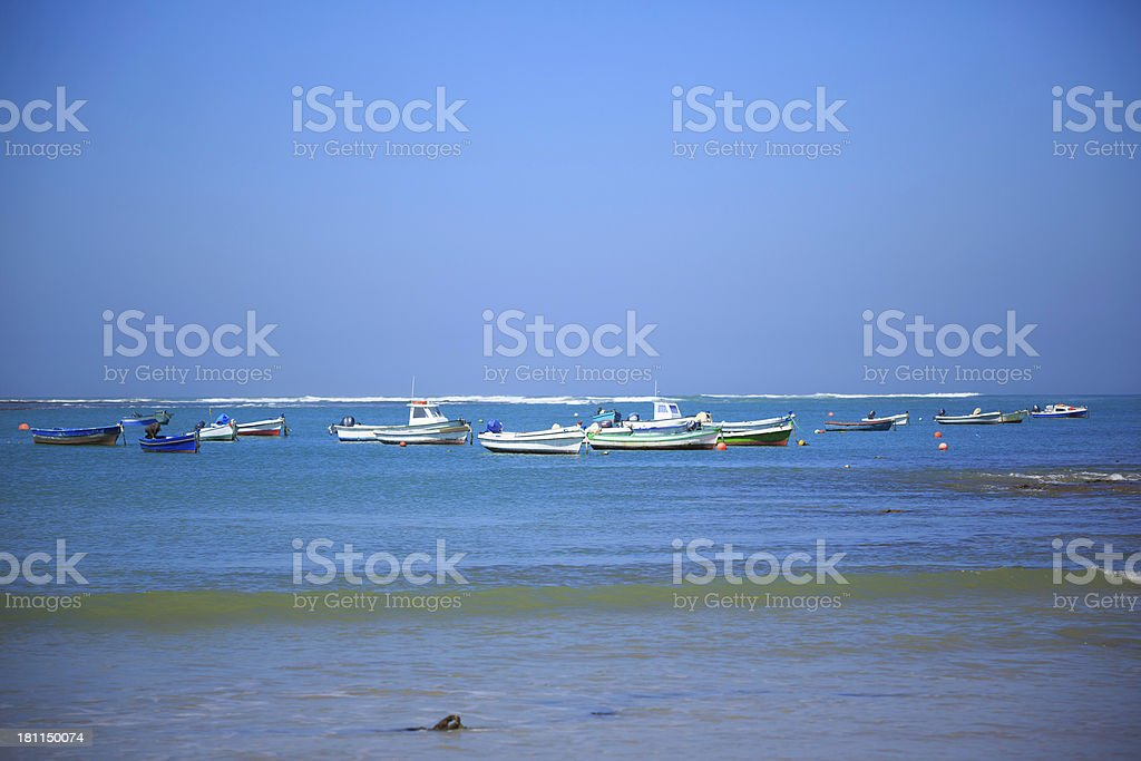 boats on the beach royalty-free stock photo