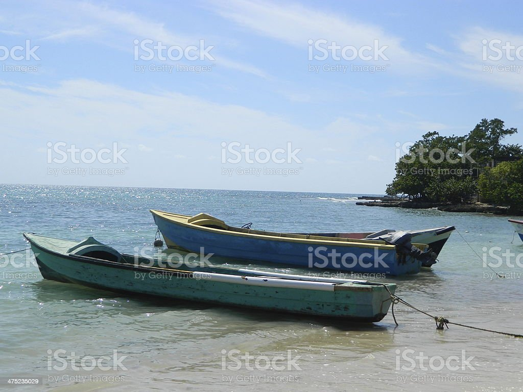 Boats on the Beach Rasta Fishing Jamaica stock photo