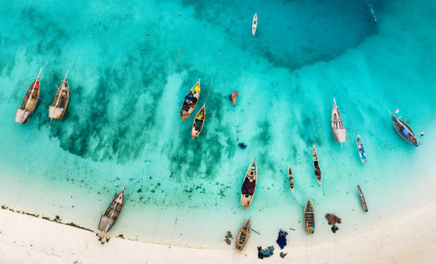 boats on the beautiful beach of Zanzibar, Africa stock photo