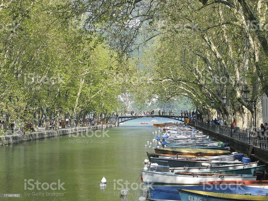Boats on the canal stock photo
