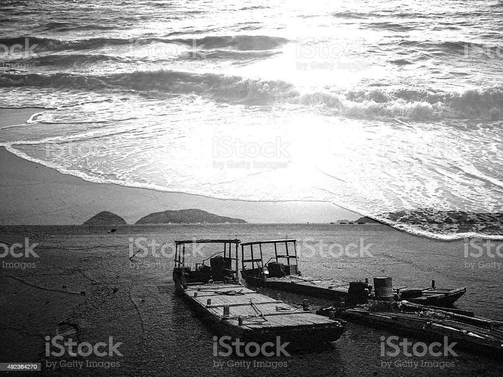 Boats on the Coast of Chinese Sea stock photo