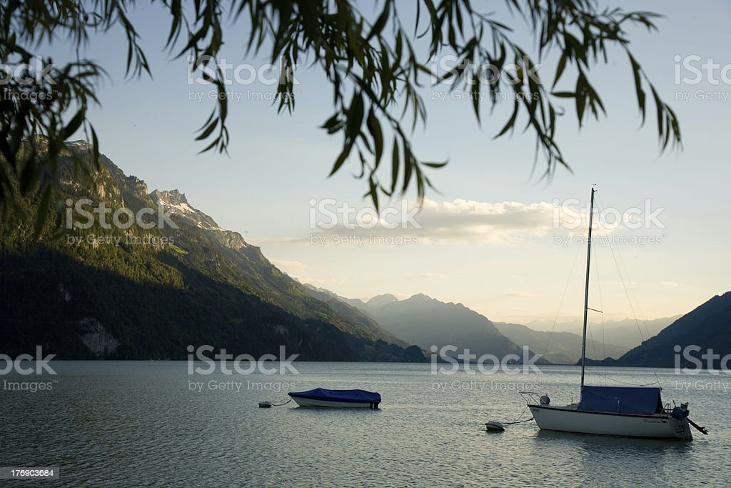 Boats on the Lake Brienz stock photo