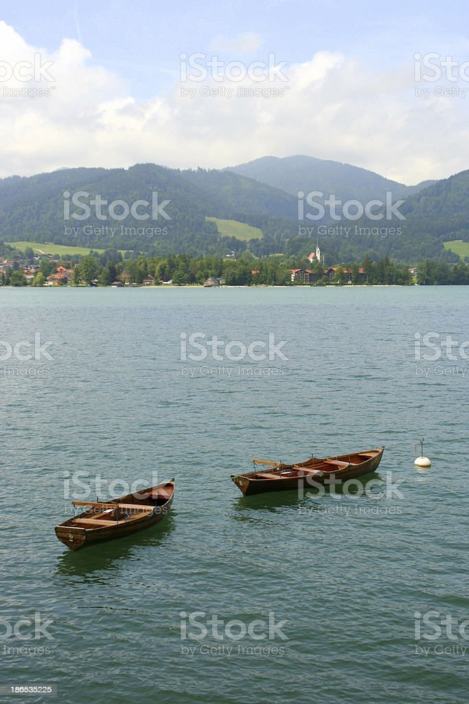 Boats on the lake Tegernsee stock photo