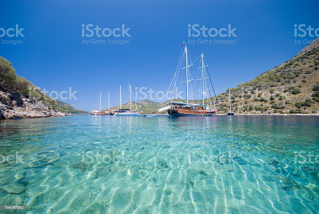 Boats on the Mediterranean Sea stock photo