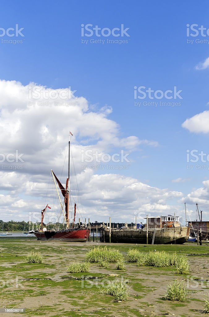 Boats on the mud at Pin Mill royalty-free stock photo