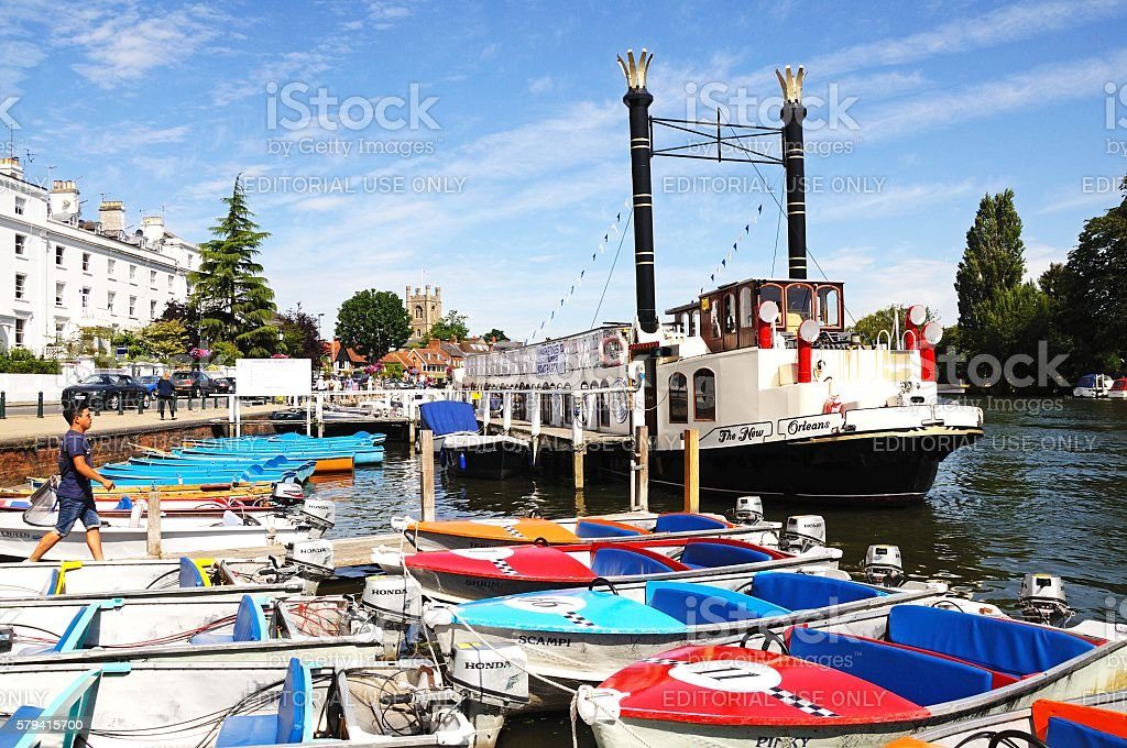 Boats on the river, Henley on Thames. stock photo