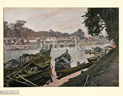 Antique colourised photograph of Boats on the river, Mandalay, Burma. 19th Century.