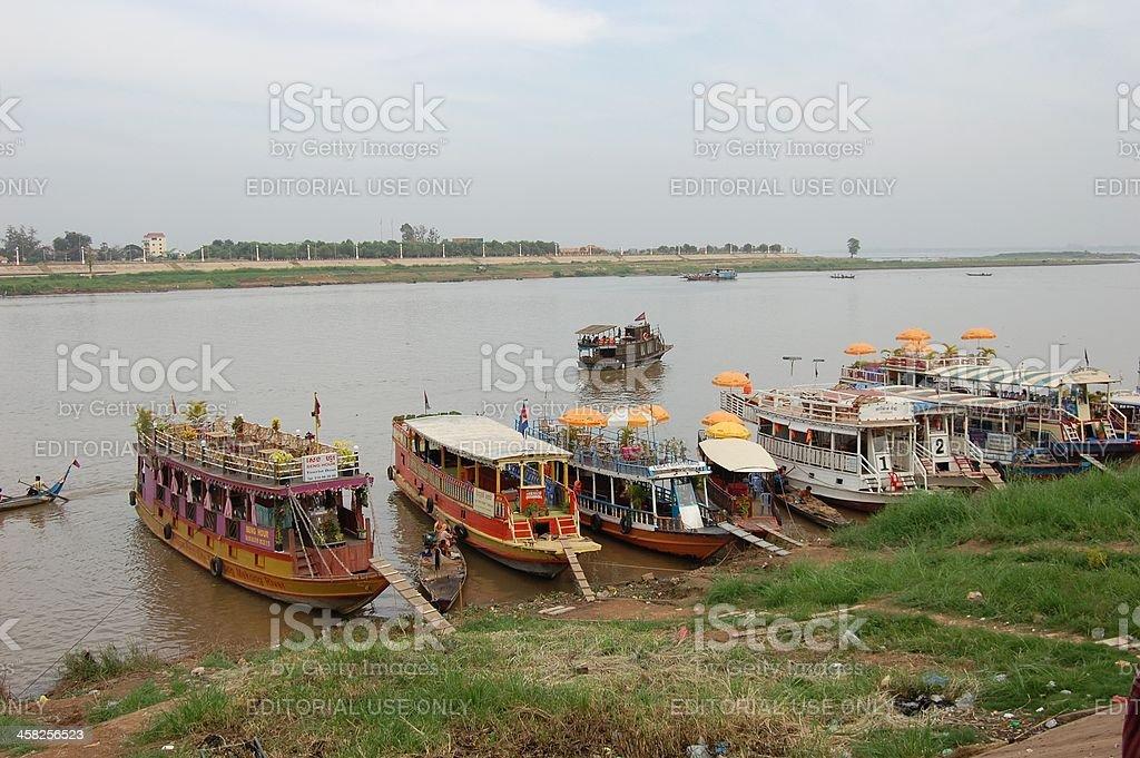 Boats on Tonle Sap, Phnom Penh Cambodia royalty-free stock photo