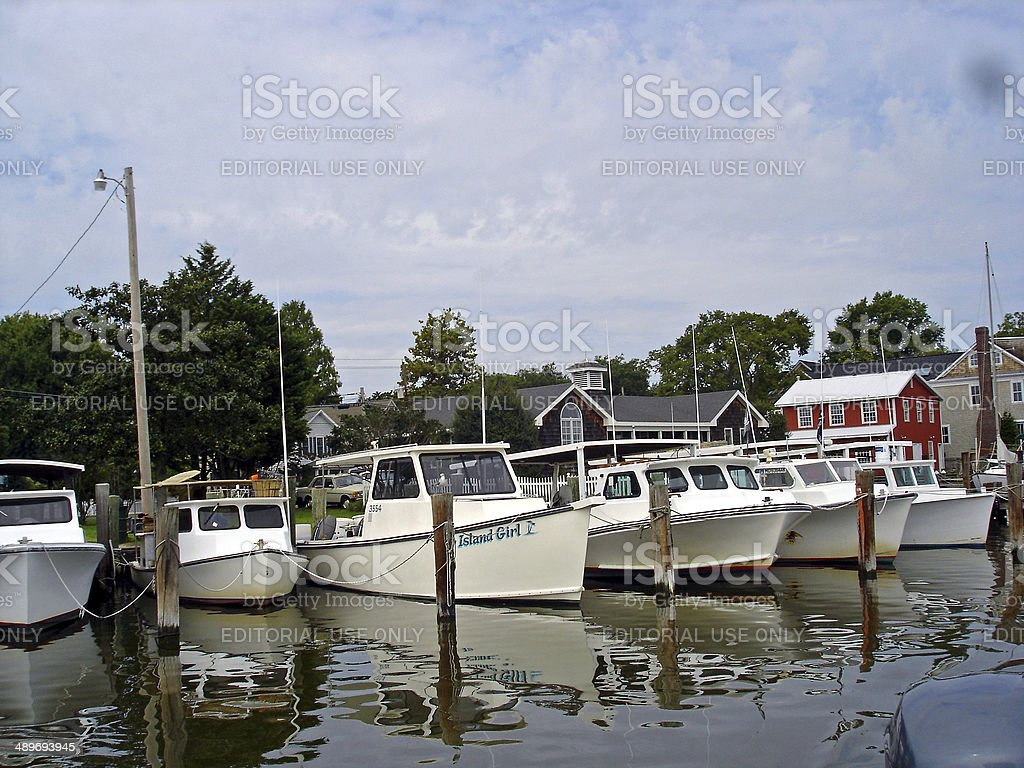 Boats on Town Creek stock photo