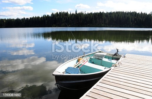 Dock and boats on the water of Fawn lake