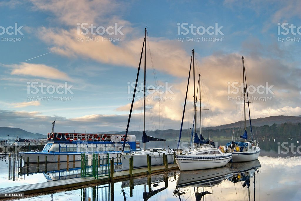 Boats on Windermere stock photo