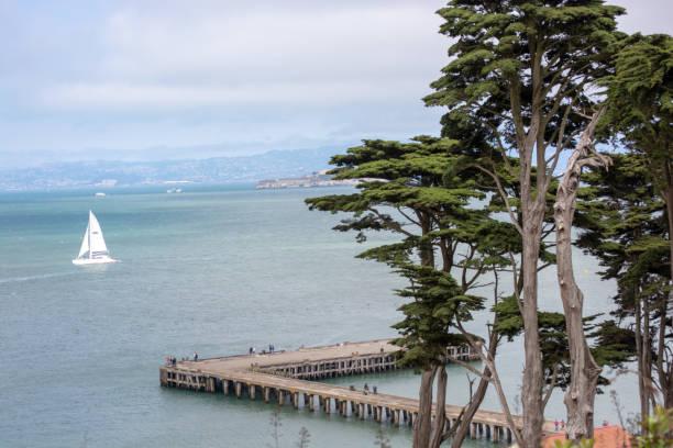 Boats outside of Alcatraz stock photo