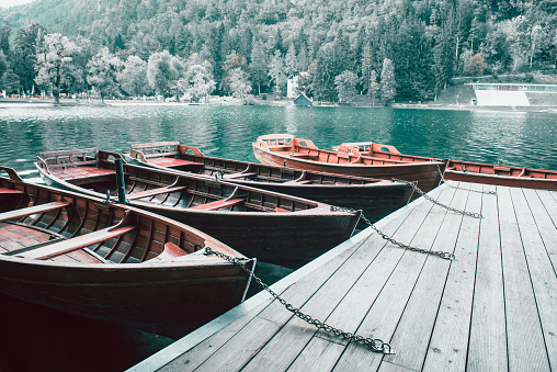 Boats Parked On Lake Bled In Slovenia