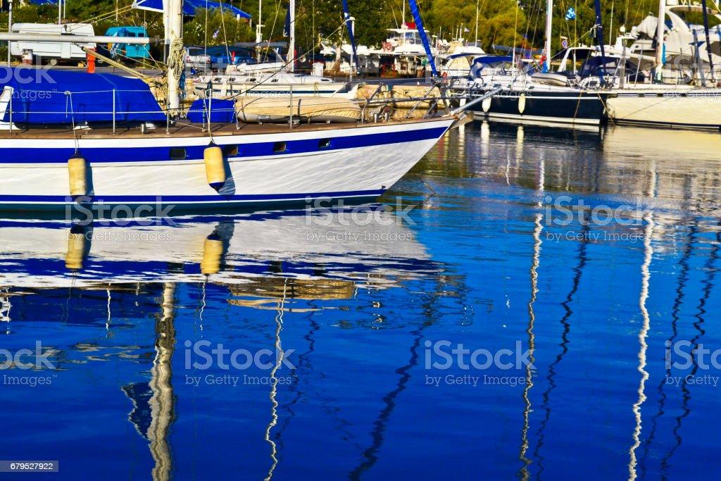 boats reflection on sea Faliron Greece royalty-free stock photo