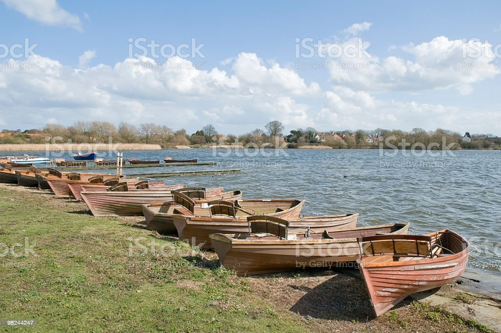 Boats resting for the winter royalty-free stock photo