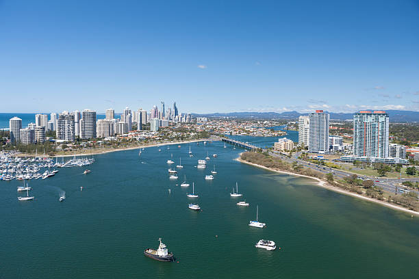Boats sailing the bay in Surfers Paradise stock photo