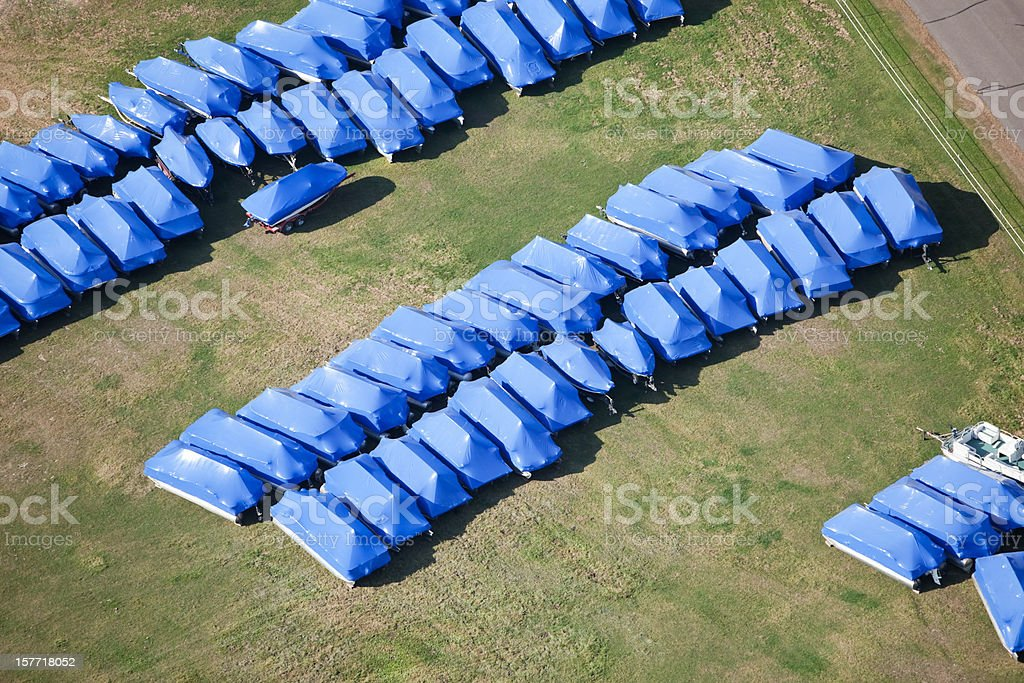 Boats Shrink Wrapped and Winterized for Storage stock photo