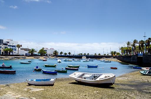 Boats stranded in the Charco de San Ginés. Arrecife de Lanzarote.