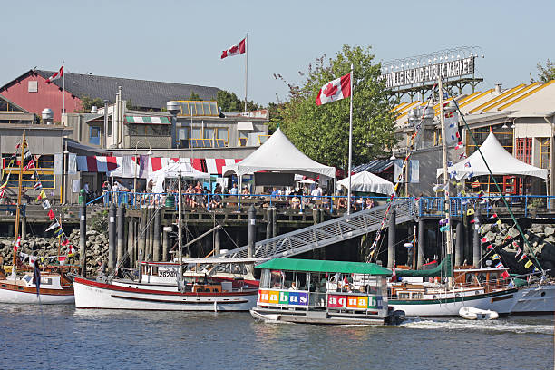 Boats, Tents and Festivals on Granville Island, Vancouver, British Columbia stock photo