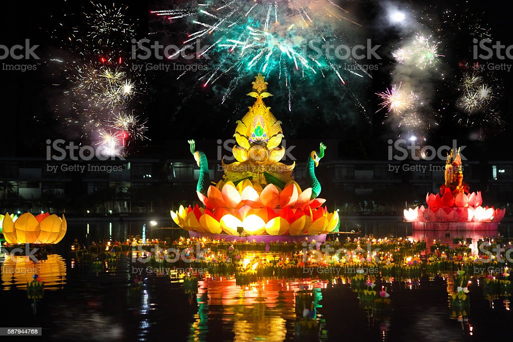 Boats with candles and flowers Loy Krathong Festival stock photo