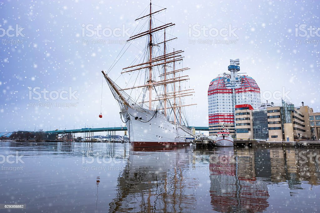 Boats with christmas decoration in harbor Gothenbur, Sweden stock photo
