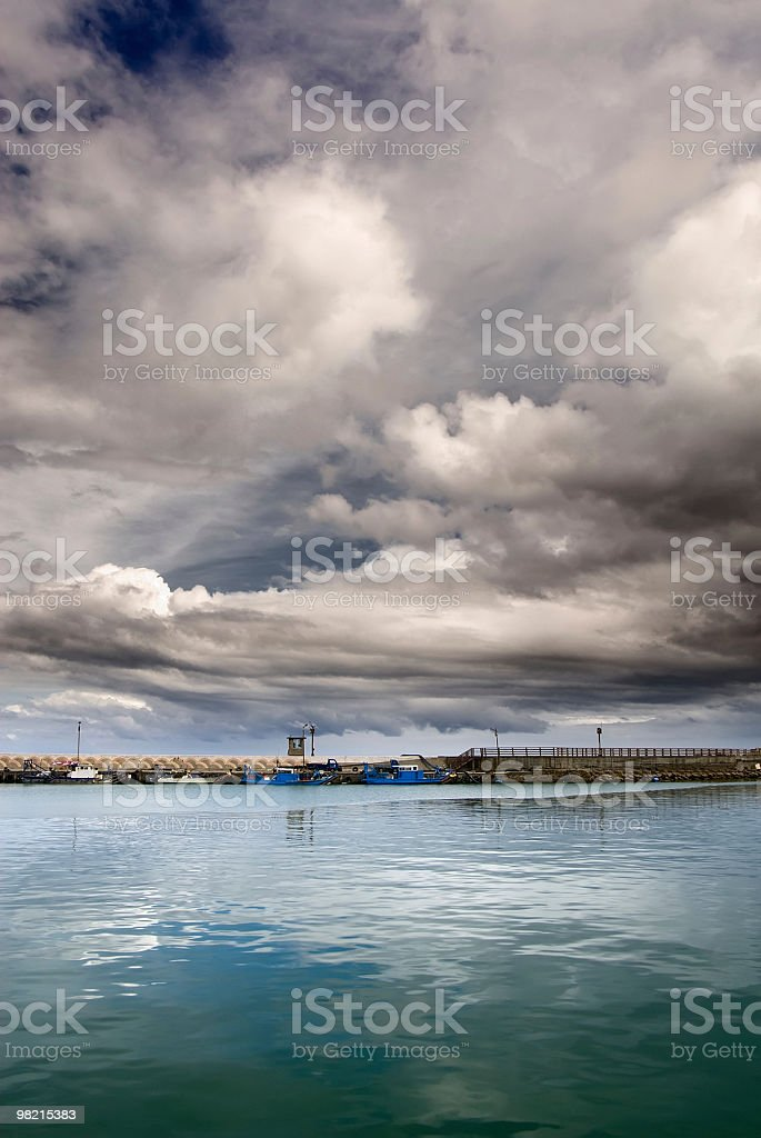Boats with dramatic scenic royalty-free stock photo
