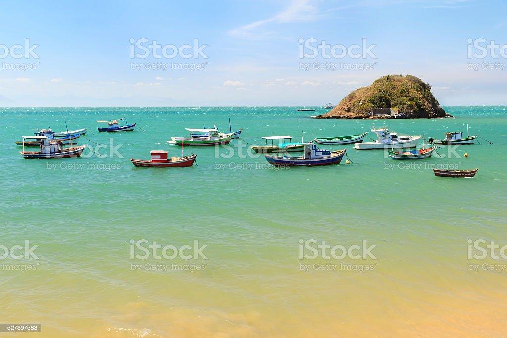 Boats, yachts  blue sea in Buzios, Rio de Janeiro, Brazil stock photo