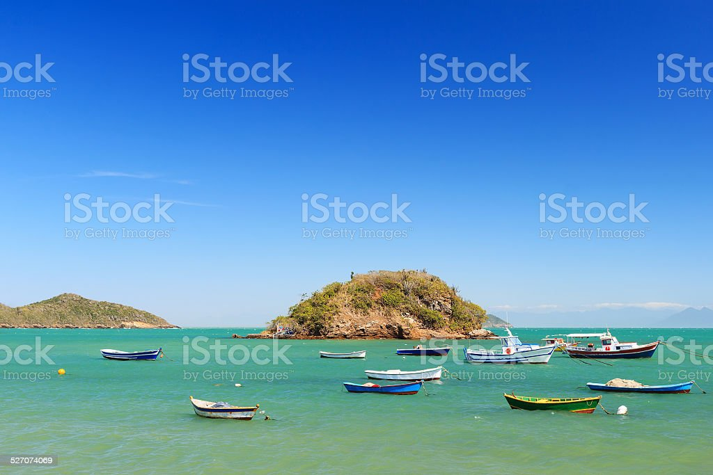 Boats, yachts trip island sea in Armacao dos Buzios, Brazil stock photo