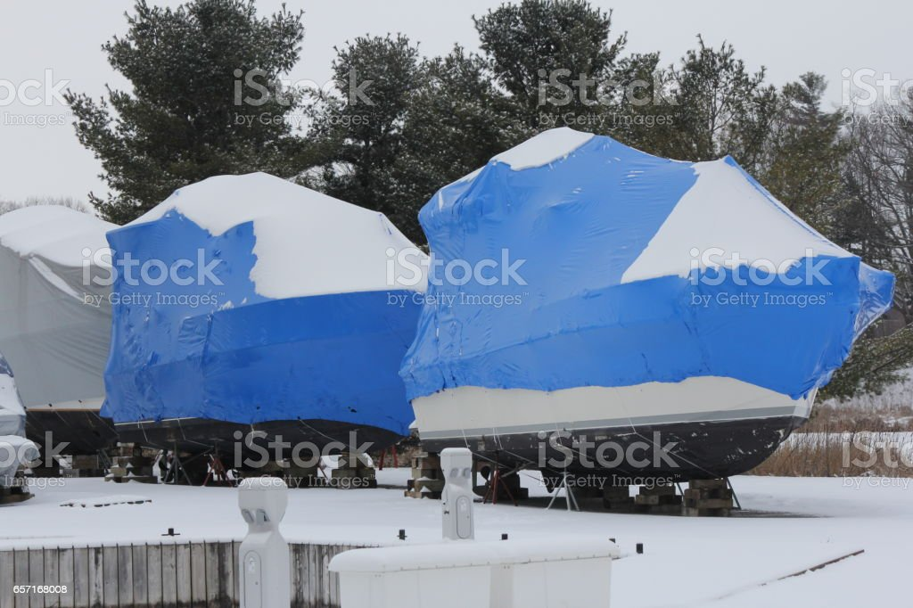 Boat-Winter Wrapped stock photo