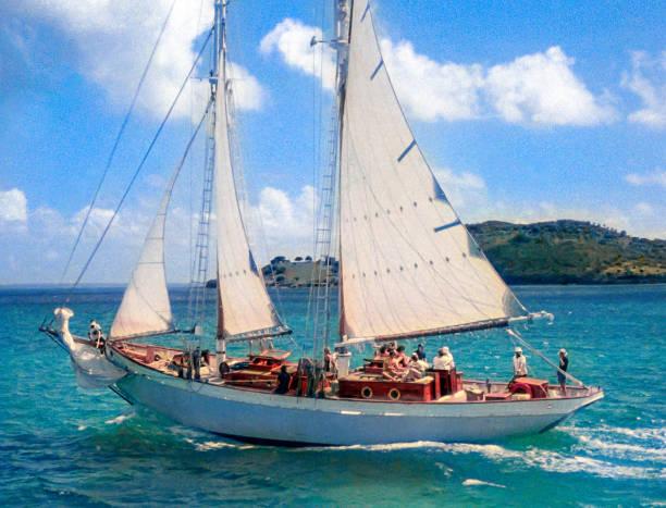 Bob Dylan's schooner Water Pearl under sail. stock photo