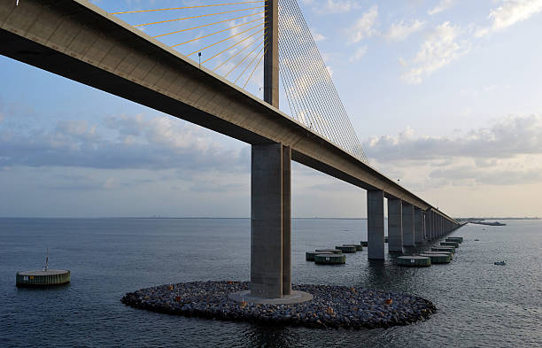 Bob Graham Sunshine Skyway Bridge Tampa Bay Florida at Dusk file_thumbview_approve.php?size=1&id=13732830 elevated walkway stock pictures, royalty-free photos & images
