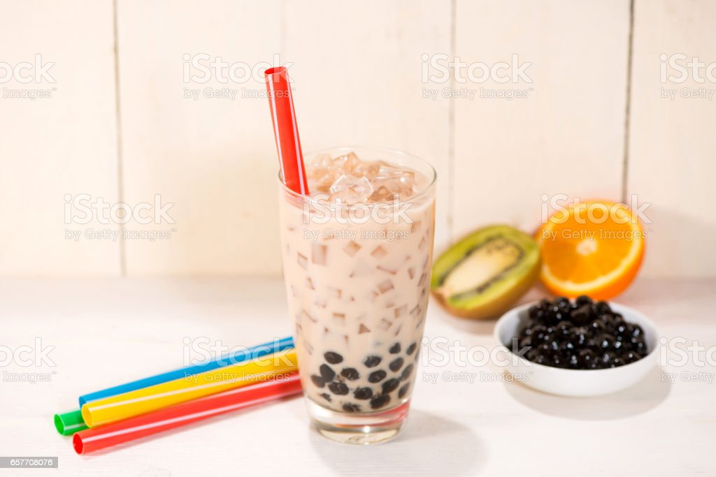 Boba or Bubble tea stock photo