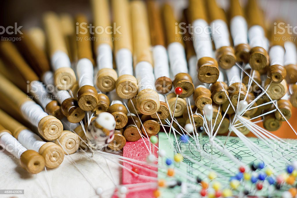 Bobbin lace, traditional handicrafts royalty-free stock photo