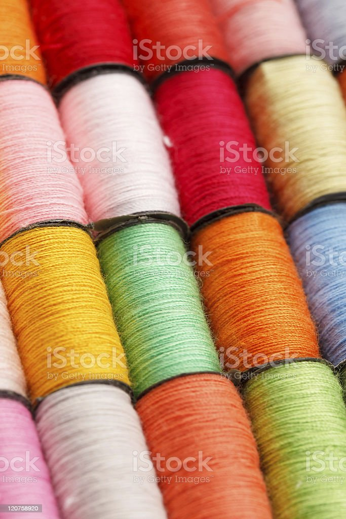 bobbins of lurex thread royalty-free stock photo