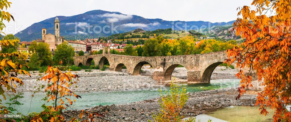 Bobbio - beautiful ancient town with impressive roman bridge, Italy stock photo