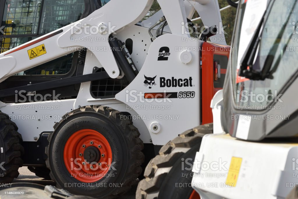 Bobcat heavy duty equipment vehicle and logo on April 25, 2019 in...