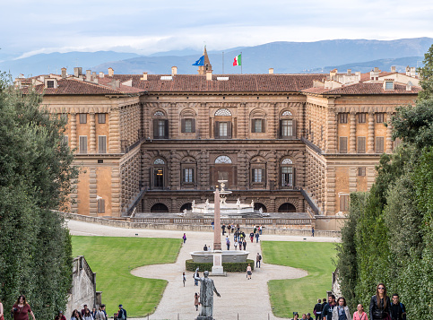 Boboli Garden with the back facade of Palazzo Pitti